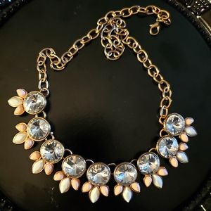 Vintage Rhinestone  glass necklace pink and white